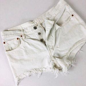 Levi's 501 Button Fly White Fringe Shorts